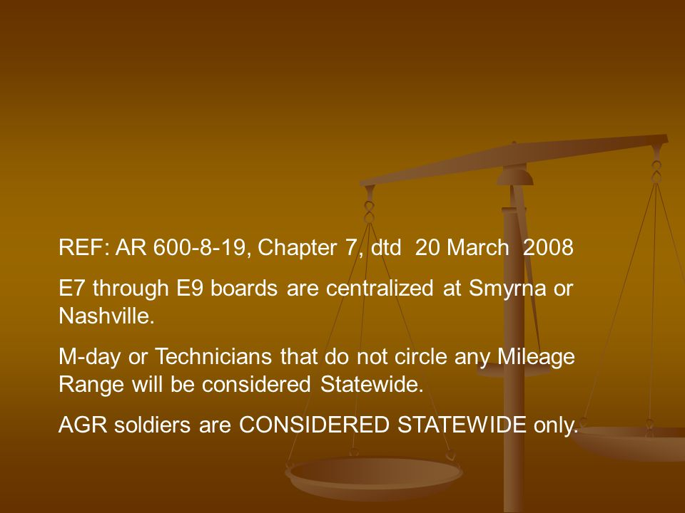 REF: AR 600-8-19, Chapter 7, dtd 20 March 2008