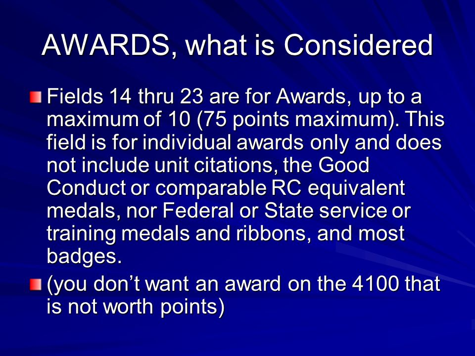 AWARDS, what is Considered