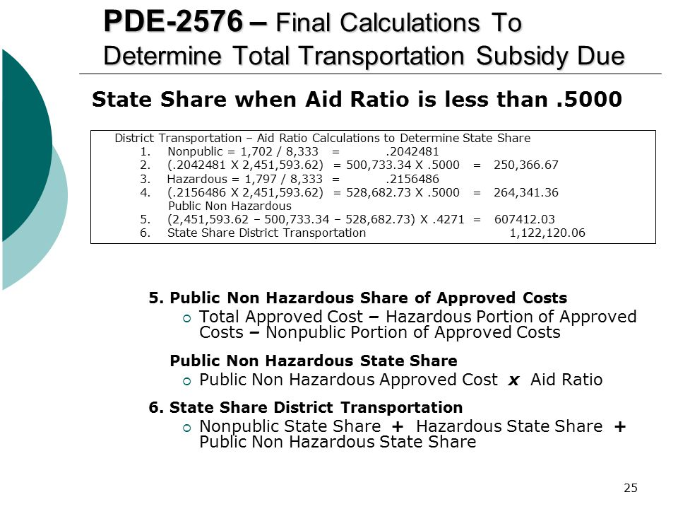 PDE-2576 – Final Calculations To Determine Total Transportation Subsidy Due
