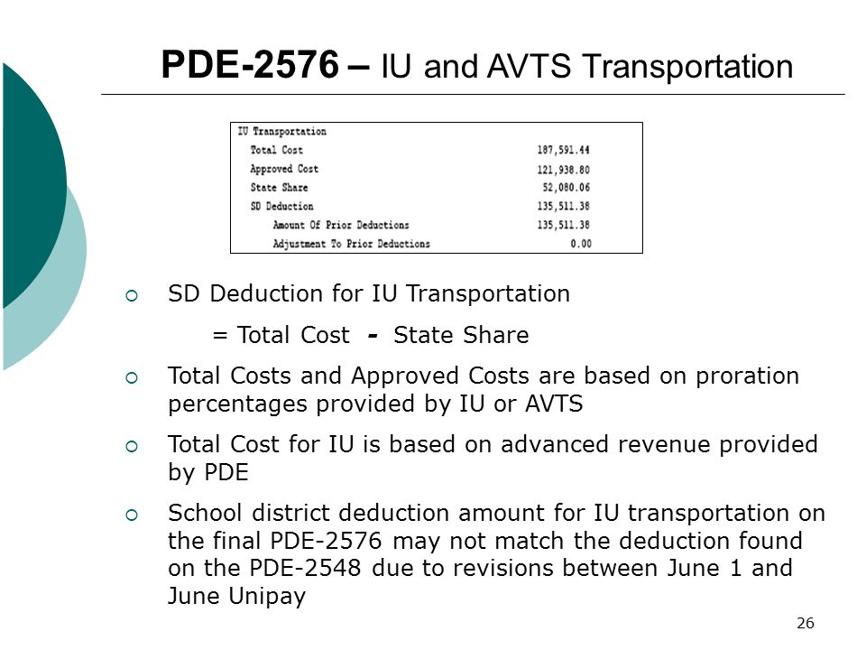 PDE-2576 – IU and AVTS Transportation
