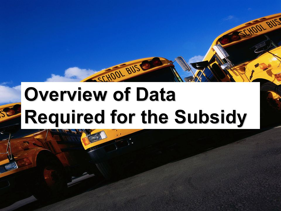 Overview of Data Required for the Subsidy