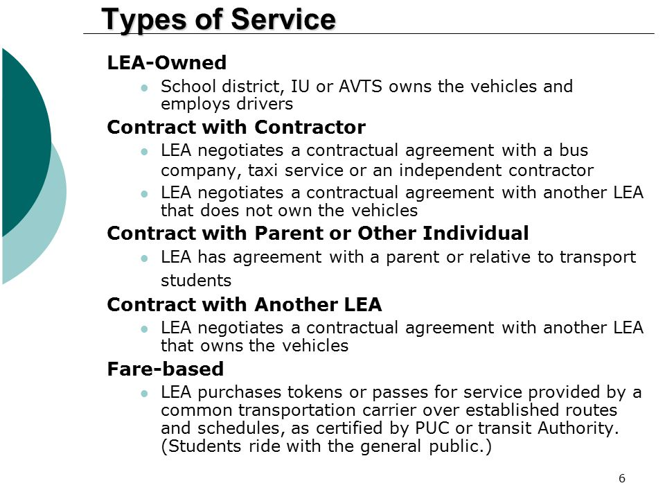 Types of Service LEA-Owned Contract with Contractor