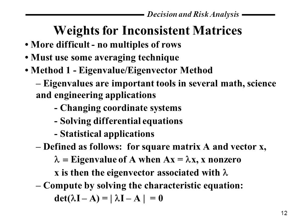 Weights for Inconsistent Matrices