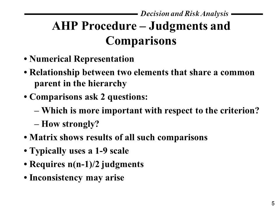 AHP Procedure – Judgments and Comparisons