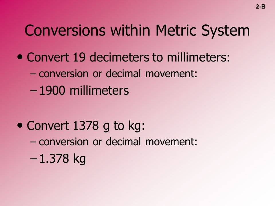 Conversions within Metric System