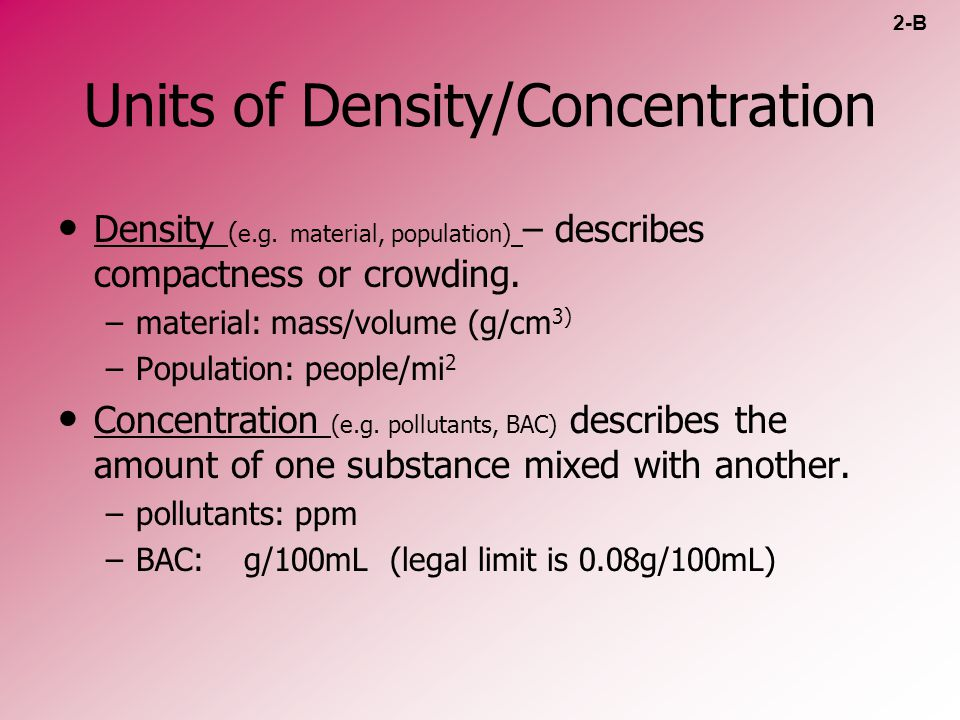 Units of Density/Concentration