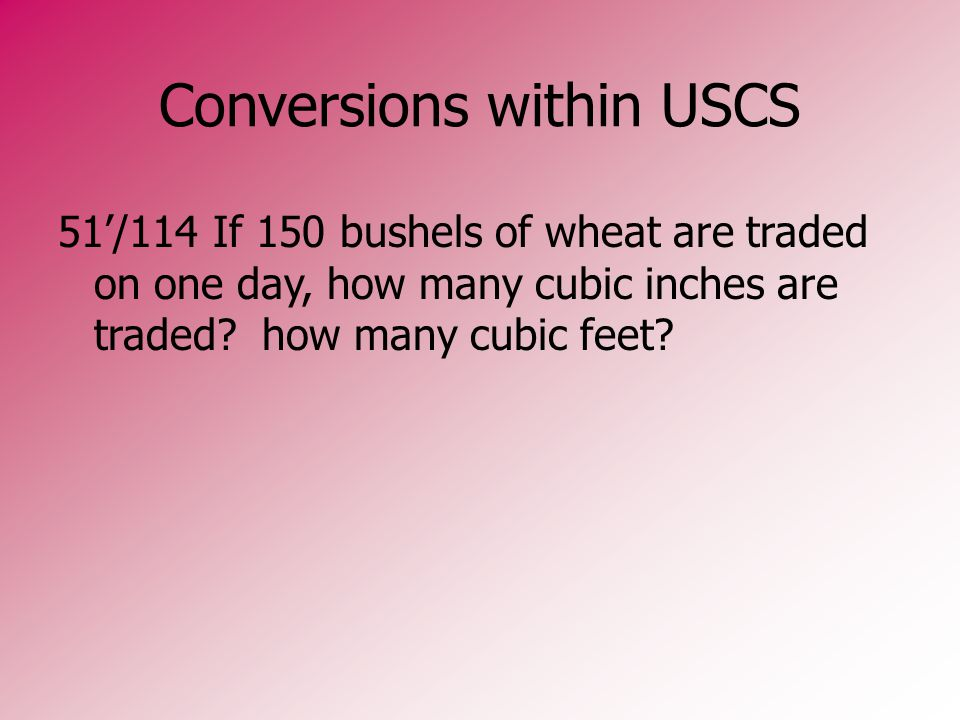 Conversions within USCS