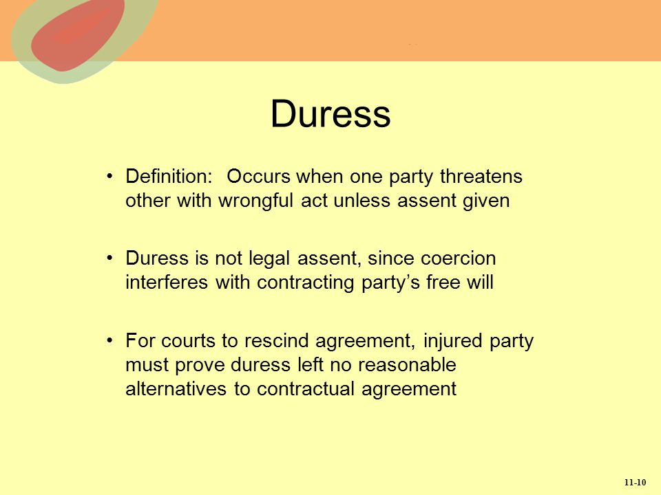 Duress Definition: Occurs when one party threatens other with wrongful act unless assent given.