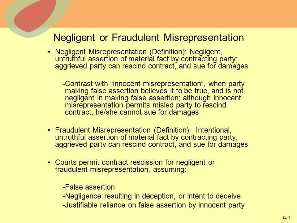 Negligent or Fraudulent Misrepresentation