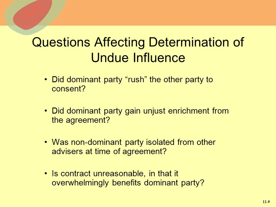 Questions Affecting Determination of Undue Influence