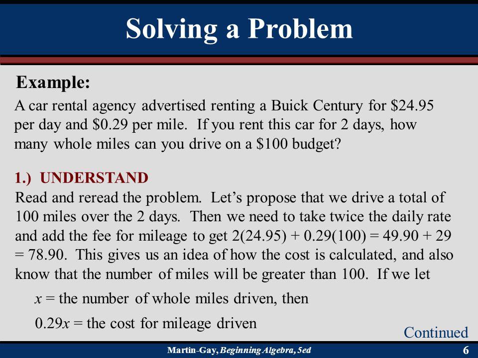 Solving a Problem Example: