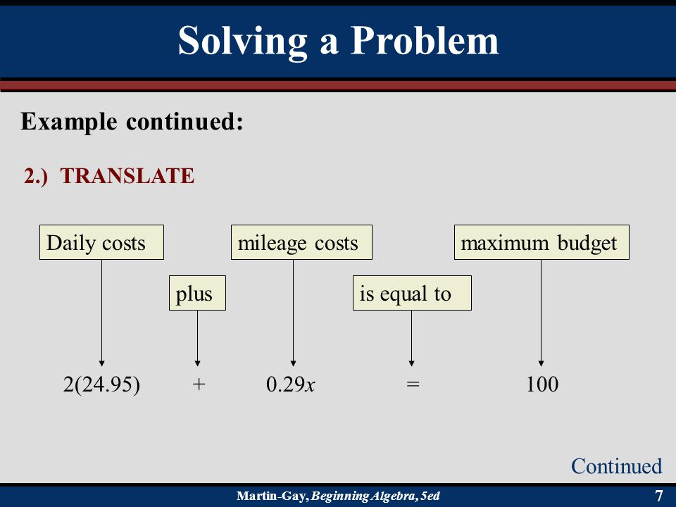 Solving a Problem Example continued: 2.) TRANSLATE Daily costs