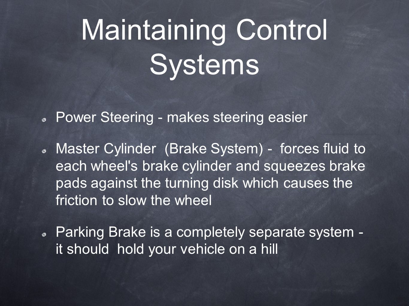 Maintaining Control Systems