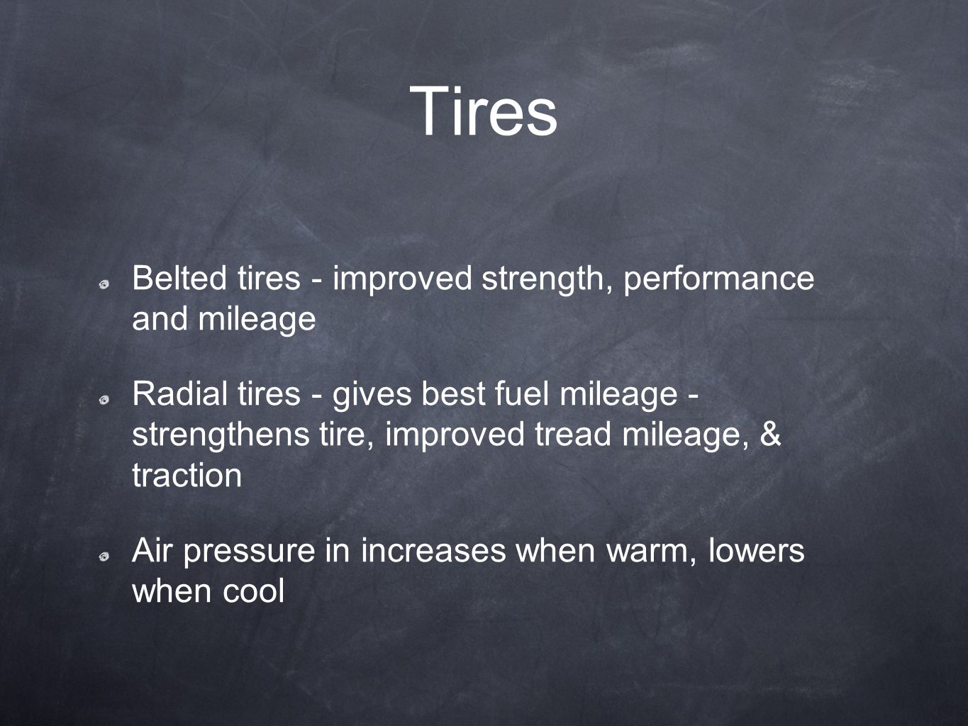 Tires Belted tires - improved strength, performance and mileage