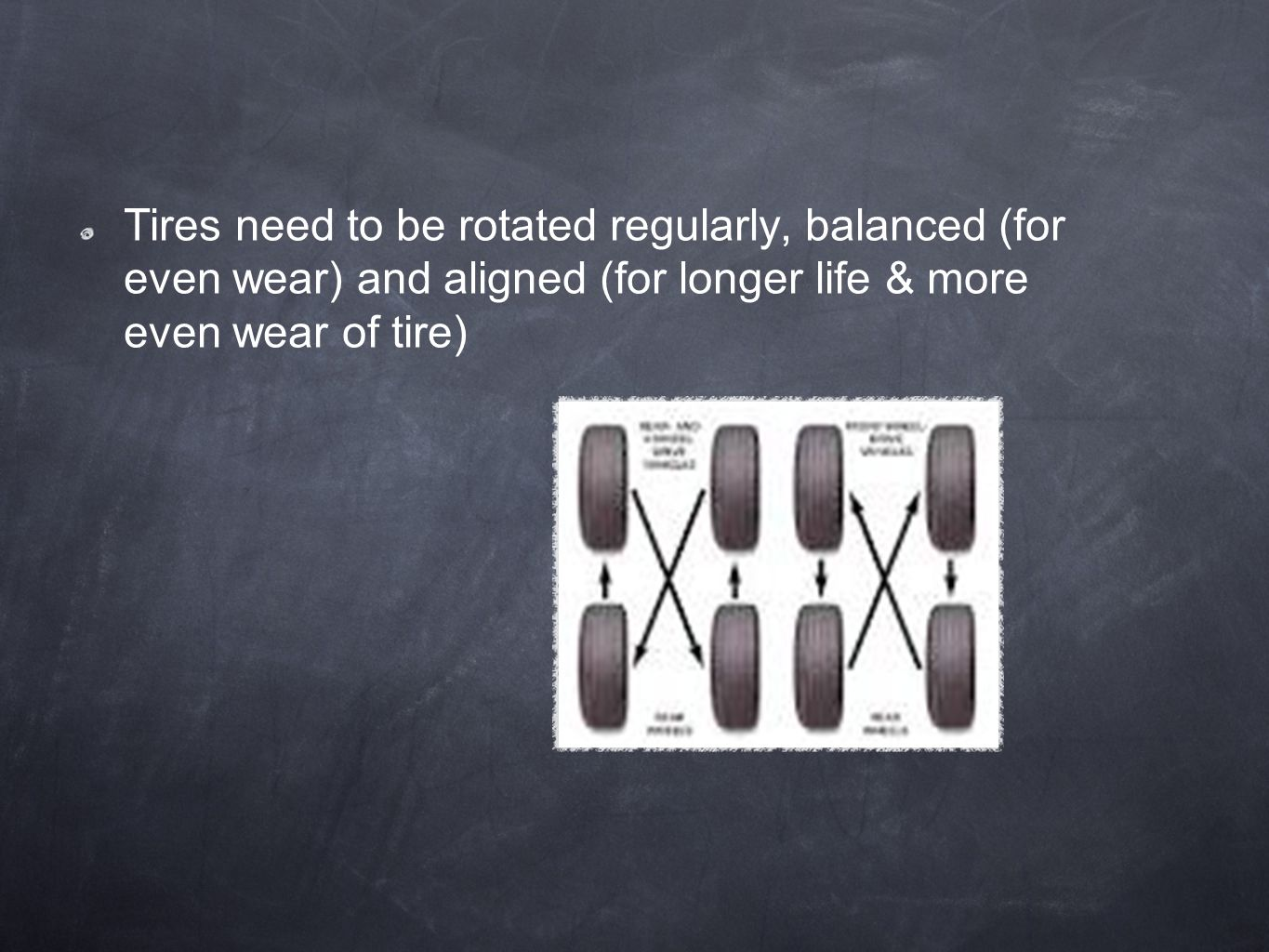 Tires need to be rotated regularly, balanced (for even wear) and aligned (for longer life & more even wear of tire)