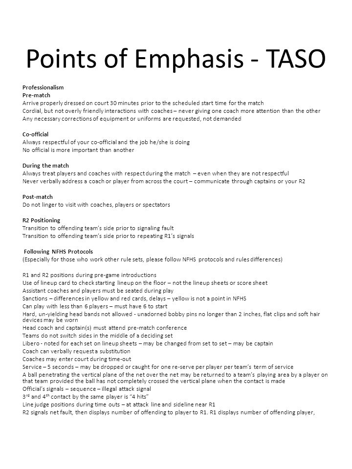 Points of Emphasis - TASO