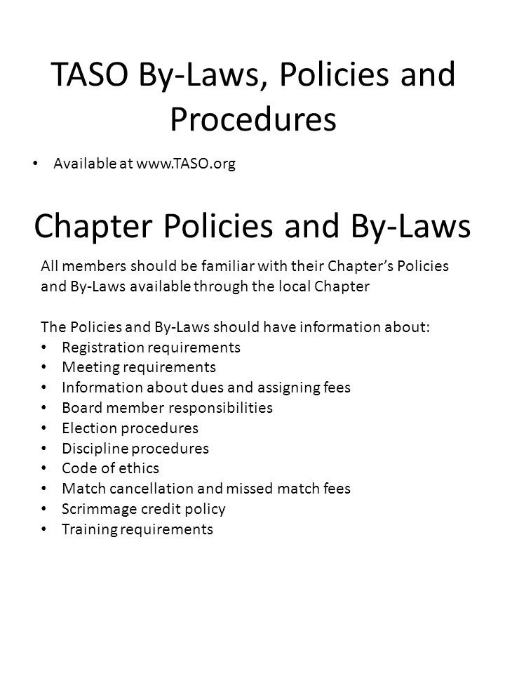 Chapter Policies and By-Laws