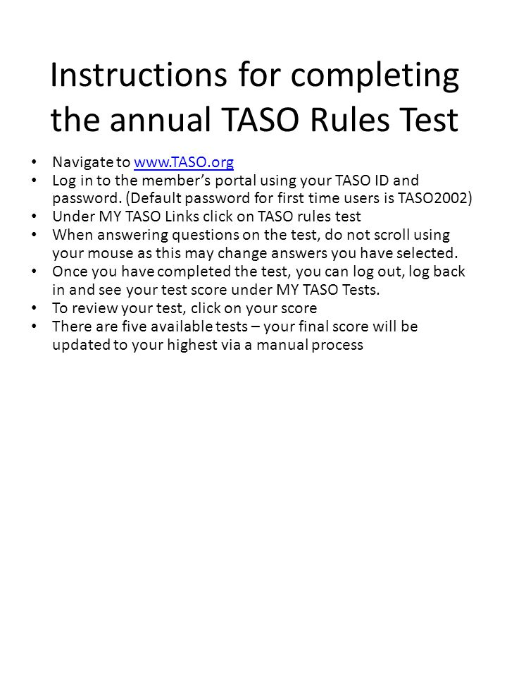 Instructions for completing the annual TASO Rules Test