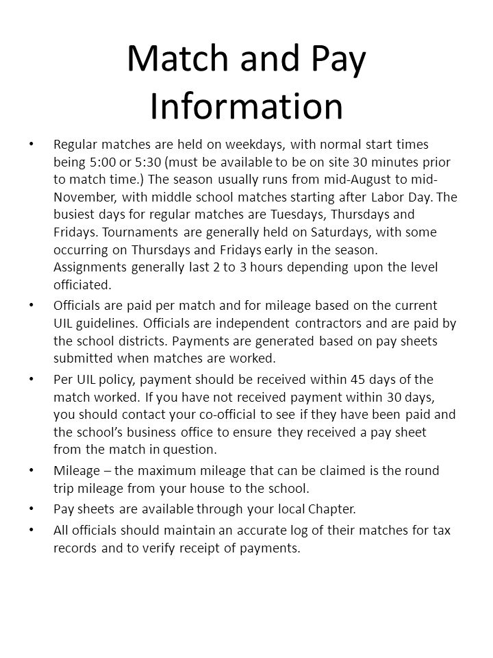 Match and Pay Information