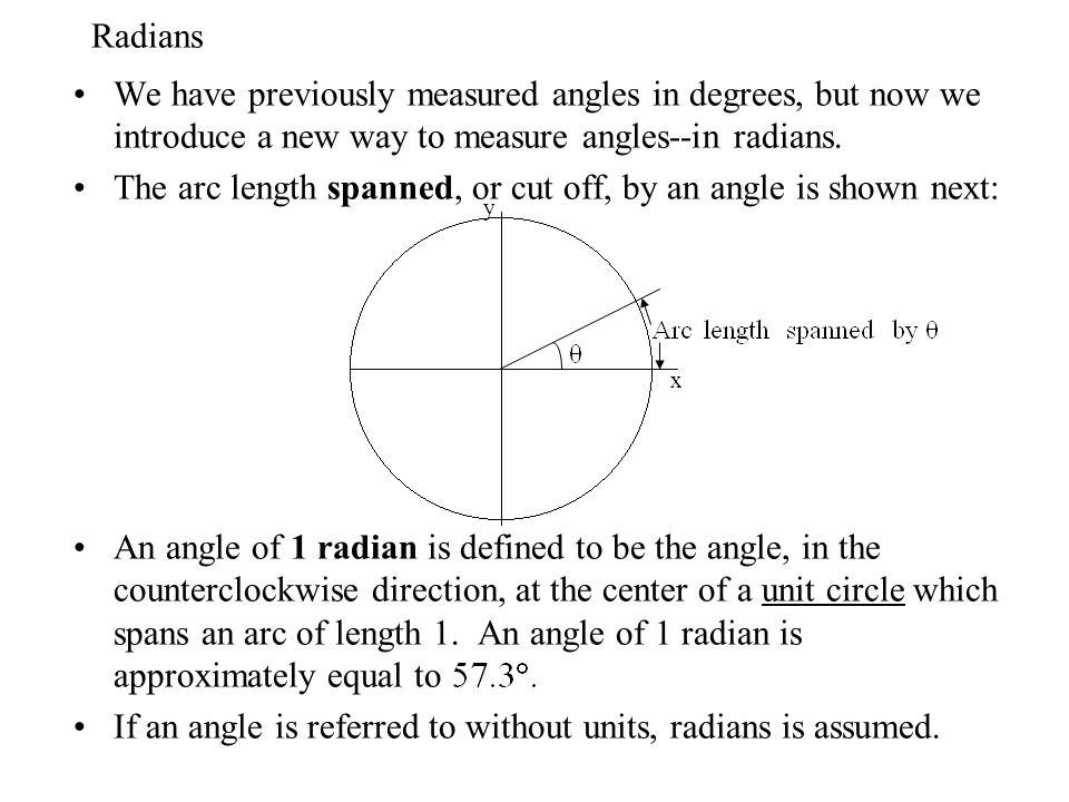 The arc length spanned, or cut off, by an angle is shown next: