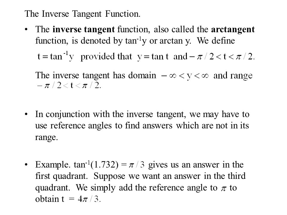 The Inverse Tangent Function.