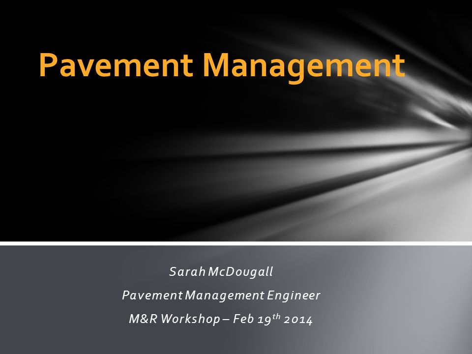 Pavement Management Engineer