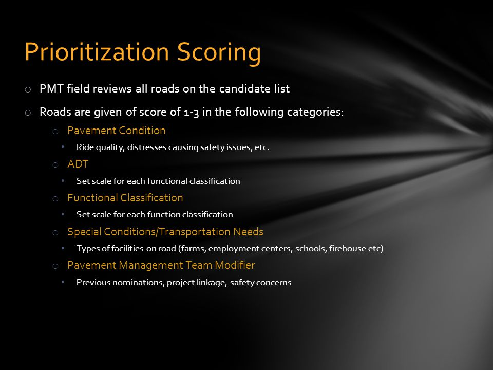 Prioritization Scoring