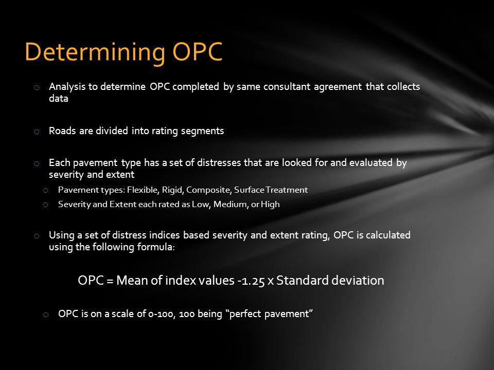 OPC = Mean of index values -1.25 x Standard deviation