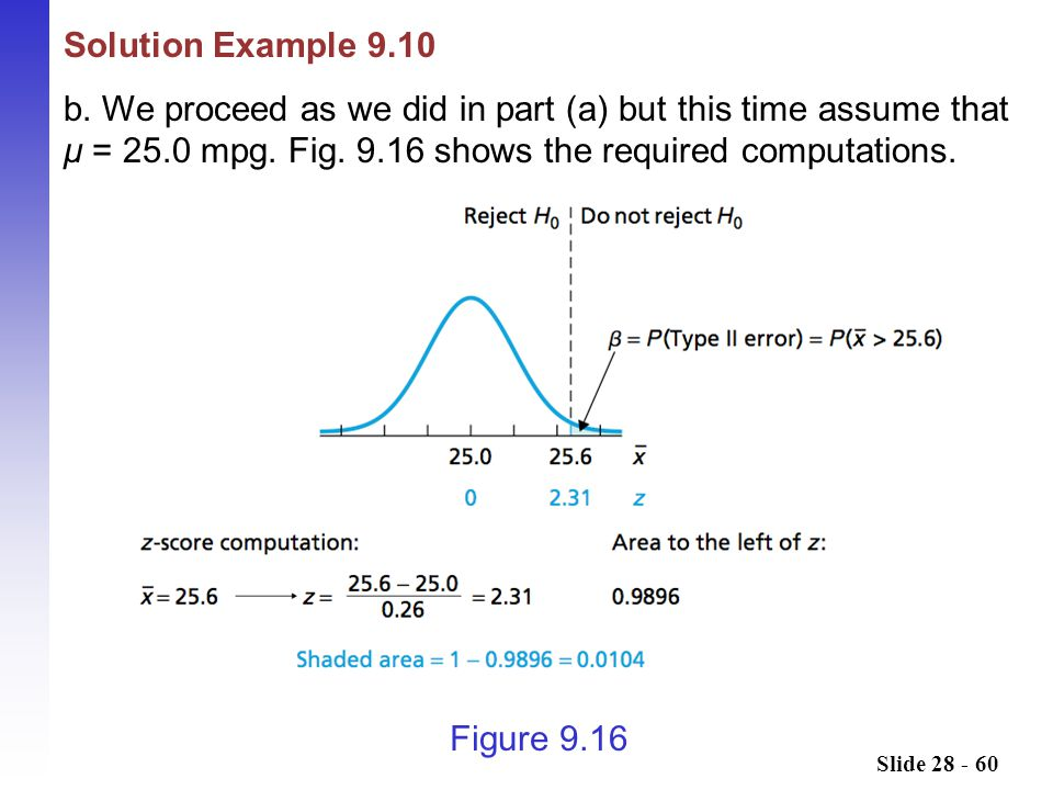 Solution Example 9.10 b. We proceed as we did in part (a) but this time assume that μ = 25.0 mpg. Fig. 9.16 shows the required computations.