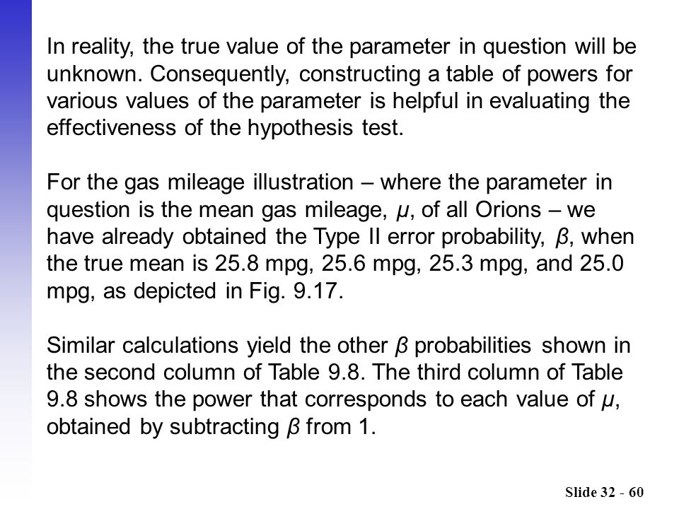 In reality, the true value of the parameter in question will be unknown. Consequently, constructing a table of powers for various values of the parameter is helpful in evaluating the effectiveness of the hypothesis test.