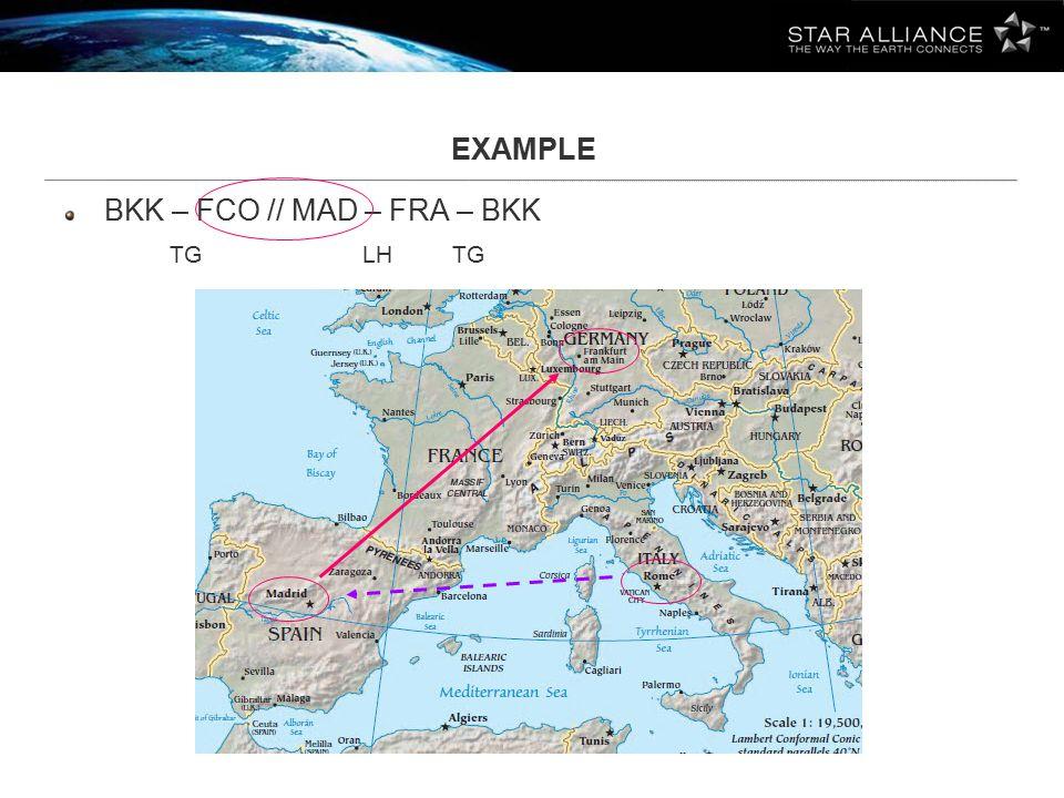 EXAMPLE BKK – FCO // MAD – FRA – BKK TG LH TG