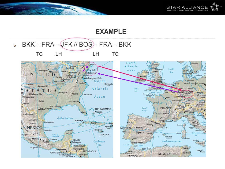 EXAMPLE BKK – FRA – JFK // BOS – FRA – BKK TG LH LH TG