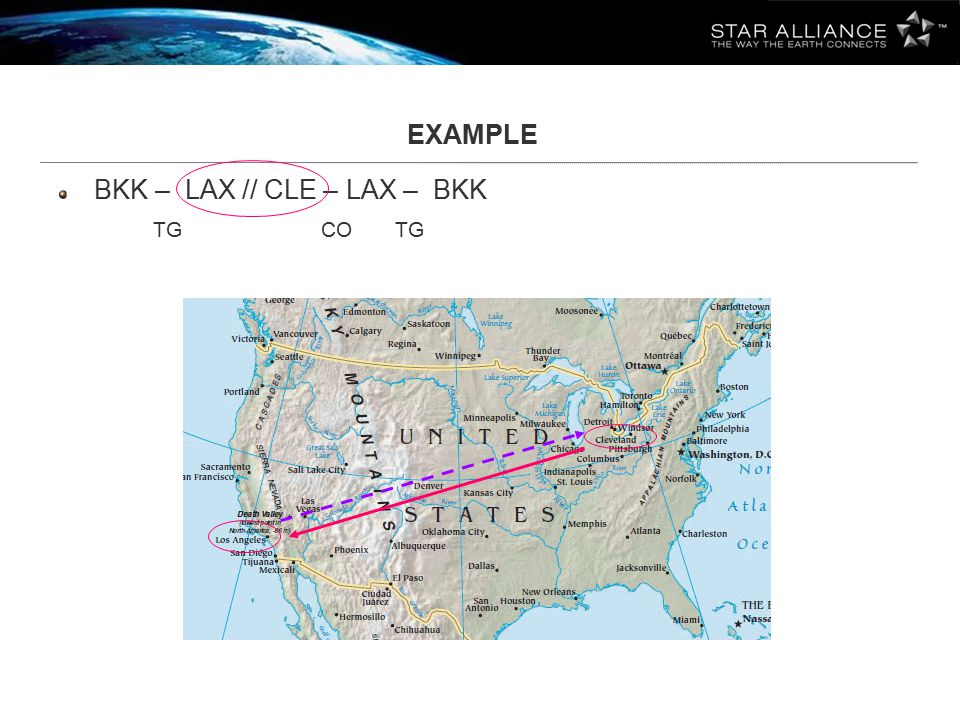 EXAMPLE BKK – LAX // CLE – LAX – BKK TG CO TG