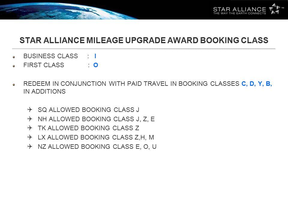STAR ALLIANCE MILEAGE UPGRADE AWARD BOOKING CLASS