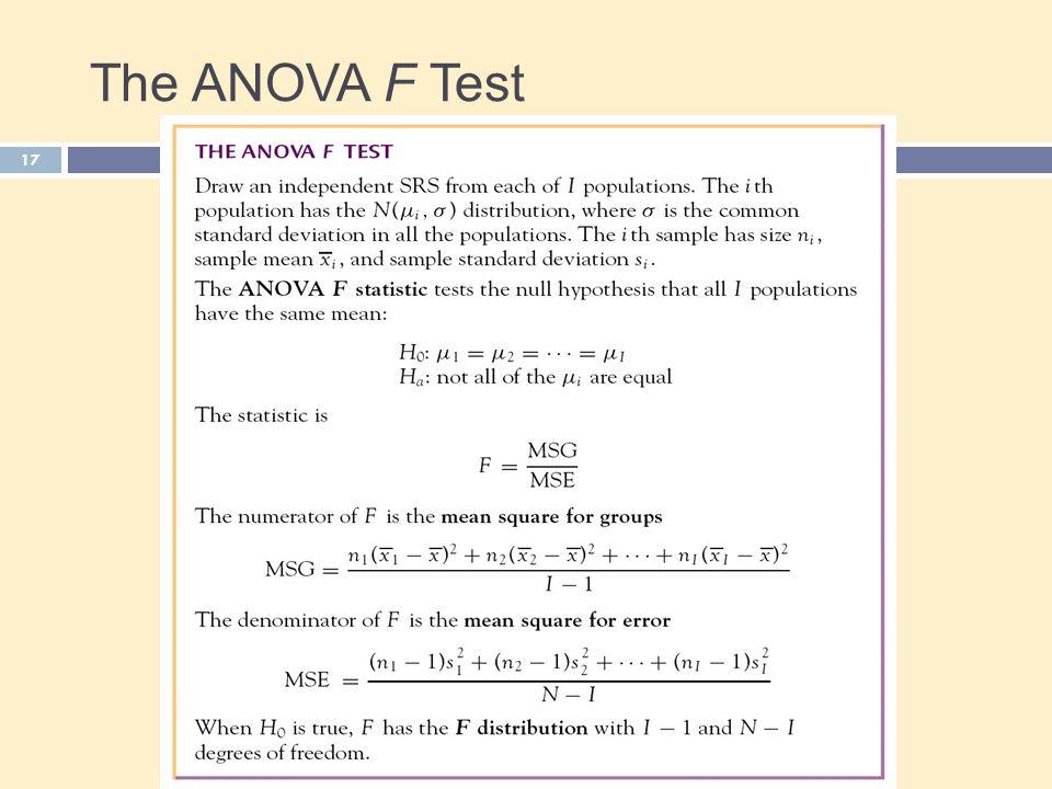 The ANOVA F Test