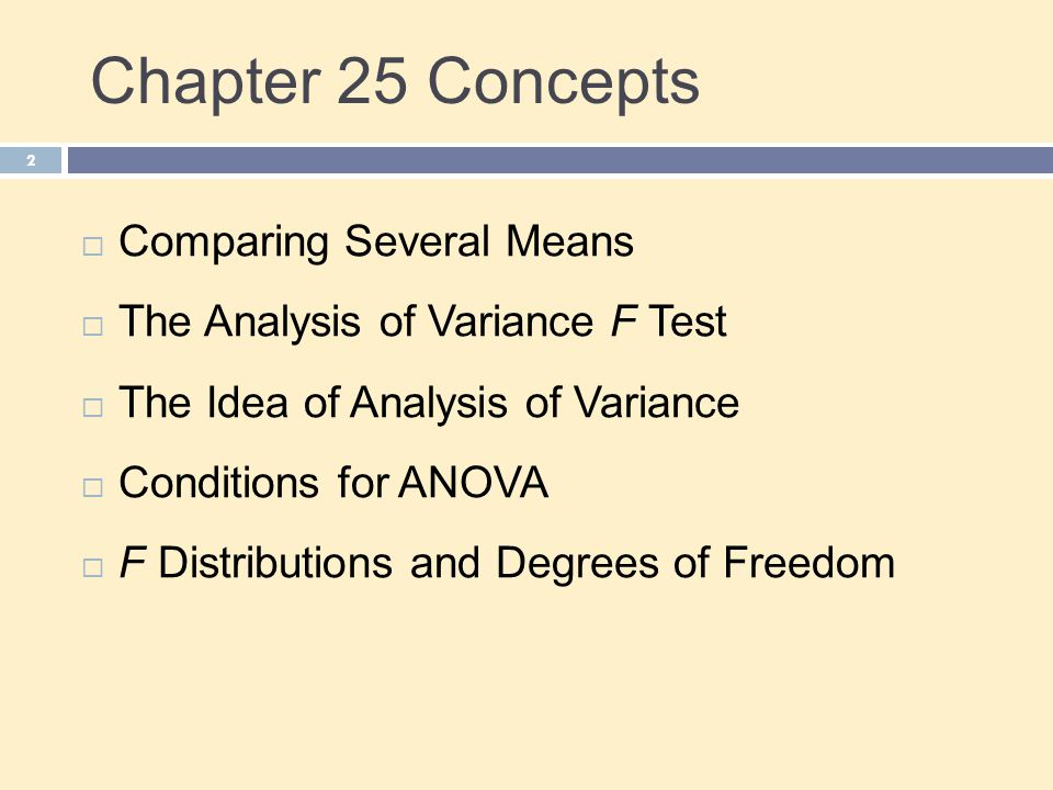 Chapter 25 Concepts Comparing Several Means