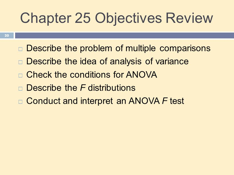 Chapter 25 Objectives Review