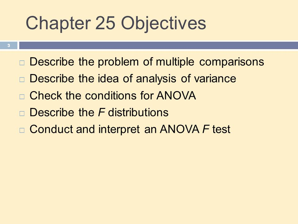 Chapter 25 Objectives Describe the problem of multiple comparisons