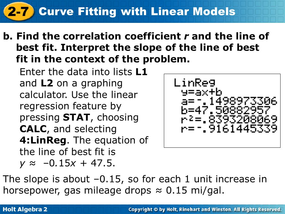b. Find the correlation coefficient r and the line of best fit