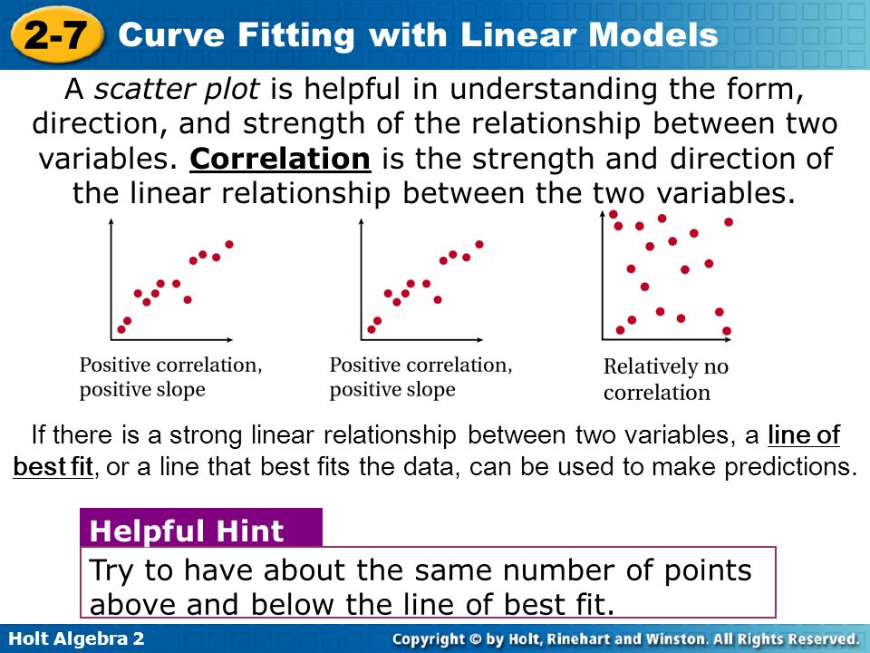 A scatter plot is helpful in understanding the form, direction, and strength of the relationship between two variables. Correlation is the strength and direction of the linear relationship between the two variables.