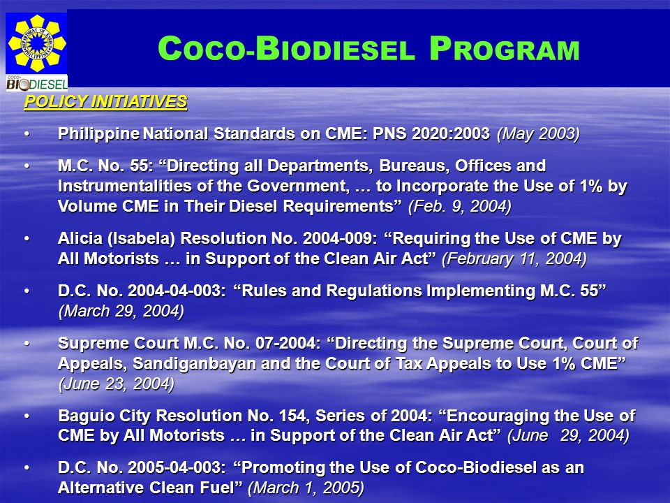 COCO-BIODIESEL PROGRAM