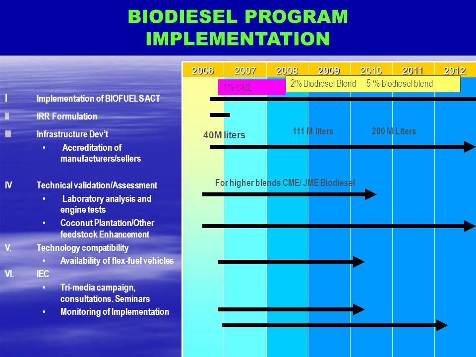 BIODIESEL PROGRAM IMPLEMENTATION