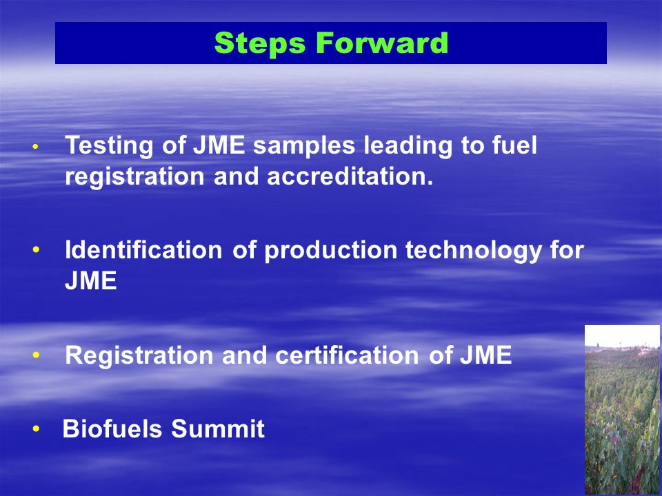 Steps Forward Identification of production technology for JME
