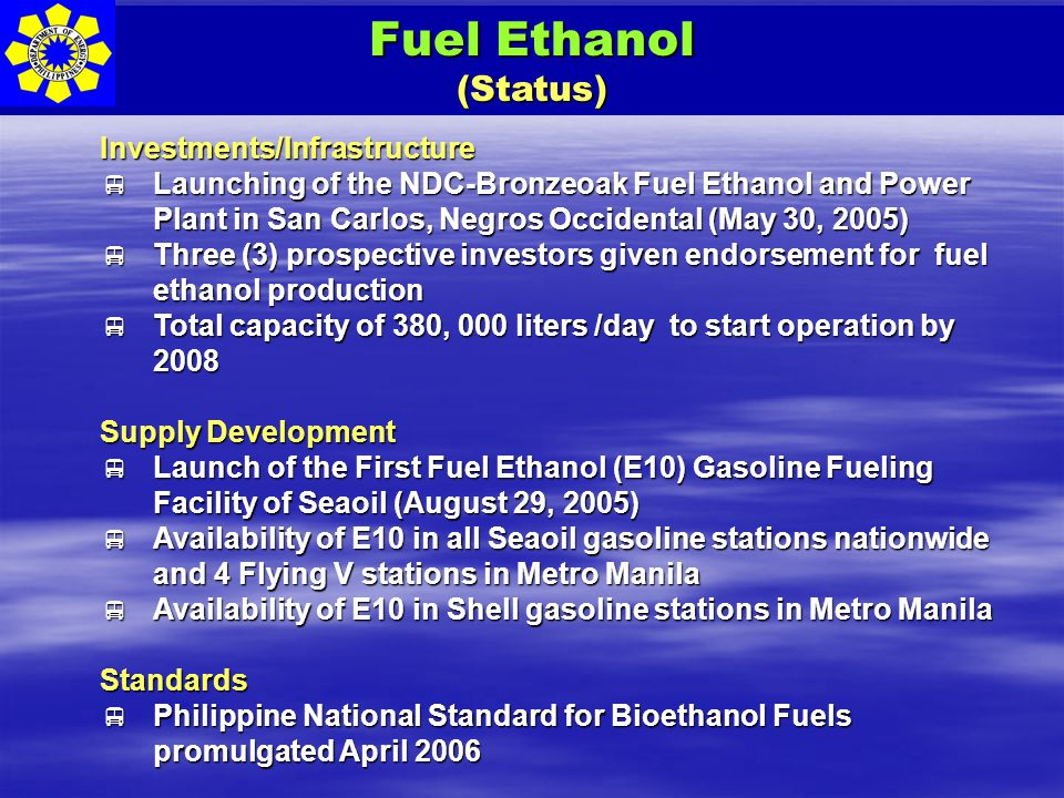 Fuel Ethanol (Status) Investments/Infrastructure