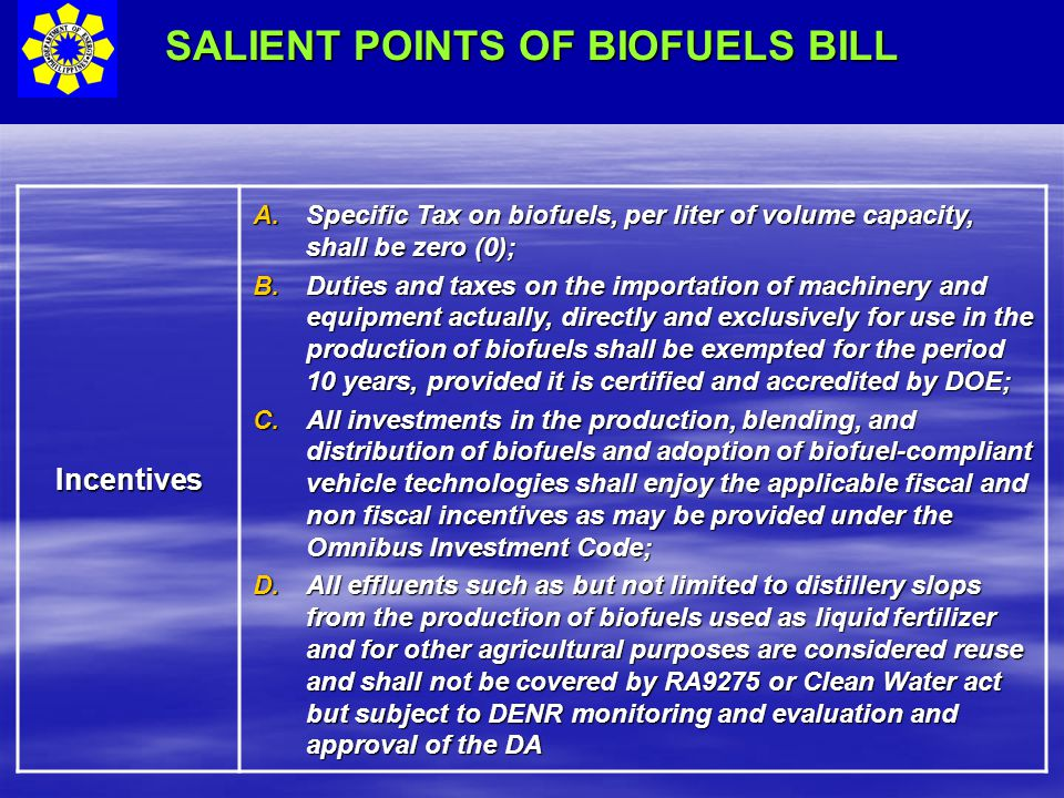 SALIENT POINTS OF BIOFUELS BILL