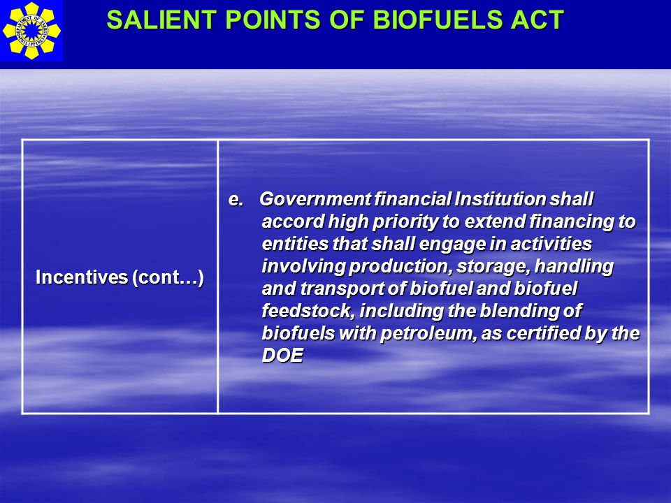 SALIENT POINTS OF BIOFUELS ACT