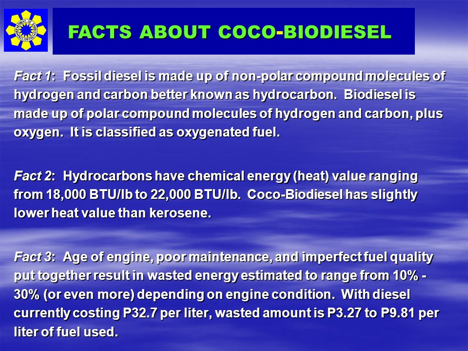 FACTS ABOUT COCO-BIODIESEL