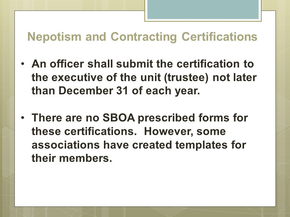 Nepotism and Contracting Certifications