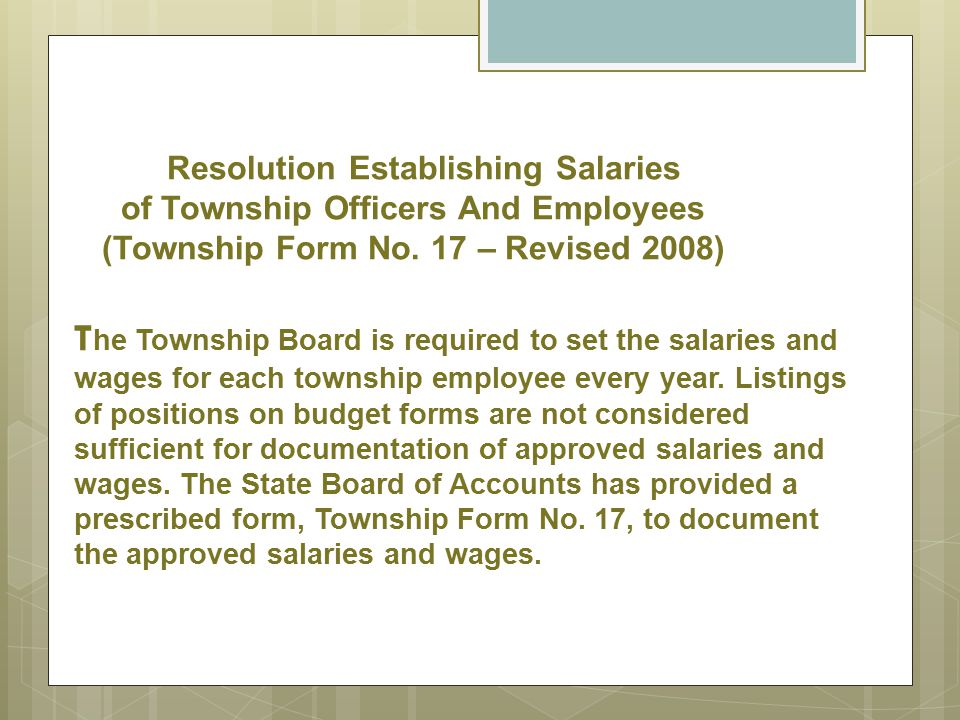 Resolution Establishing Salaries of Township Officers And Employees (Township Form No.