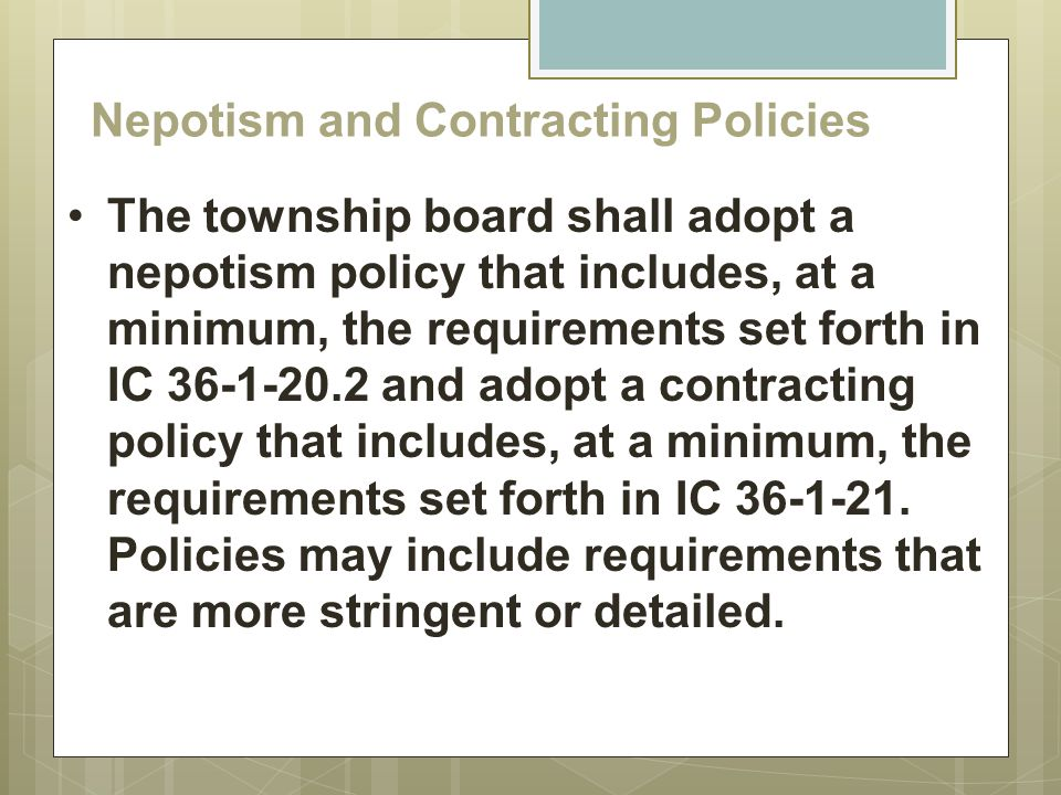 Nepotism and Contracting Policies